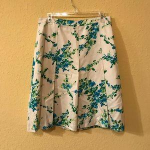 White Ann Taylor Floral Skirt